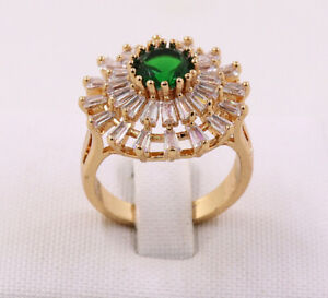 New Jewelry Natural 2.18ct Emerald 14k Solid Yellow Gold Ring Size 6.5#