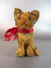 """Antique Steiff Mohair small sitting Cat Kitty 5"""" Light Brown Glass eyes w button"""