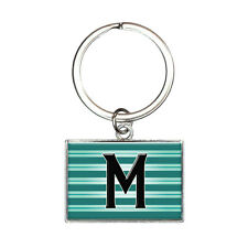 Letter M Initial Black Teal Stripes Rectangle Keychain Key Ring