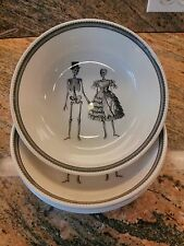The Victorian English Pottery 4 Skeleton Bowls  Plates Halloween Skull Bride Set