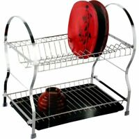 STAINLESS STEEL 2 TIER DISH DRAINER KITCHEN STORAGE DRIP TRAY CHROME PLATES NEW
