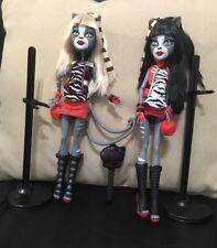 Monster High Doll Were Cat Werecat Twins  Meowlody Purrsephone Signature Lot EUC