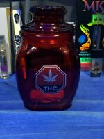 THC Red Glass Stash Jar Apothecary Prescription Weed Smell Proof- Medical