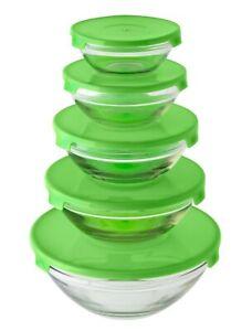 5pcs Glass Bowls Food Storage Kitchen Set With Colour Lids Stackable Container