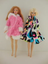 A Set of 2 Short Length Fur Coats in Pink and Fun Multi Color Made to Fit the Ba