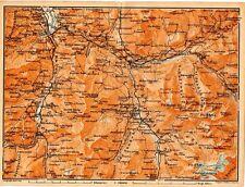 Carta geografica antica SVIZZERA Thusis Grigioni Old Map Switzerland Suisse 1905