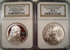 2006-P 2 BEN FRANKLIN SILVER DOLLARS NGC PF70&MS70 GEMS