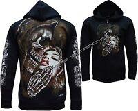 New Grim Reaper Biker Lady Glow In The Dark Zip Zipped Hoodie Hoody Jacket M-XXL