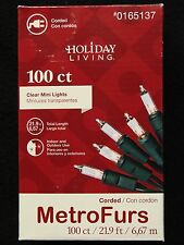 100 CLEAR MINI GREEN CORD WIRE CHRISTMAS TREE STRING LIGHTS HOLIDAY PARTY LIVING