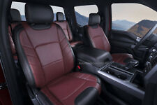 KATZKIN BLK MED RED LEATHER INT SEAT CVRS FIT 2015-2018 FORD F150 SUPER CREW XLT