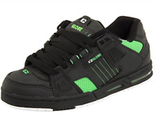 Globe Sabre Mens UK 9.5 EU 44 Black / Moto Green Leather Skate Shoes Trainers