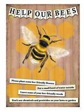 Help Our Bees Small Steel Sign 200mm x 150mm (og)