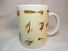 Vintage Fishing Coffee Mug Tea Cup Fish Hook Fly Fishing Lure Lures Old Camping