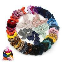50X Pack Velvet Hair Bands Colorful Ponytail Holder Maker Elastic Scrunchies Set