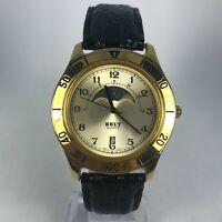 Vintage Brut Mens LBX075 Gold Day Date Indicator Analog Wristwatch Sun Moon