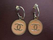 Authentic CHANEL CC pierced (peach) earrings