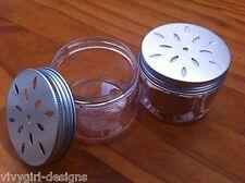 6 x 50gm Aroma Jars ,holed lid, clear plastic as room fresheners. eva beads etc