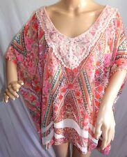 Lavish Mujer Talla Grande 3x Rosa Floral Gasa Chifón Túnica Blusa Superior