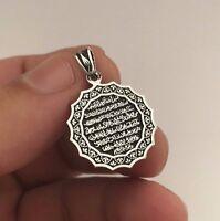 Turkish Islamic Jewelry Ayat Al Kursi 925K Sterling Silver Black Unisex Pendant