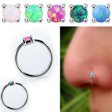 Hoop Round Opal Prong Set Top Jewelry 20G 0.8mm Helix Nose Ring Hoops 925 Silver