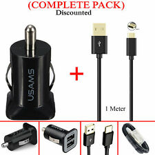 Dual USB 3.1A Car Charger Plug & 1M USB Type-C Cable For Honor, Huawei