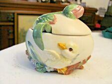 Fitz and Floyd Classic Garden Rhapsody Egg Sugar Bowl with Spoon & Lid