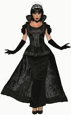 Royal Dark Queen Black Wicked Vampiress Dress Adult Costume