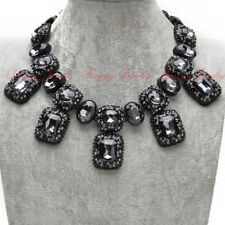 BEAUTIFUL ZARA BLACK FACETED SPARKLING STONES STATEMENT NECKLACE – NEW