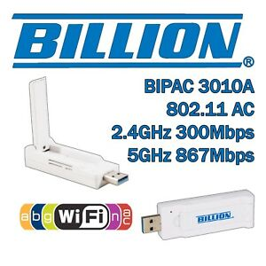 Billion BiPAC 3010A USB Wireless Adapter WiFi Dongle AC Dual Band 2.4ghz 5ghz