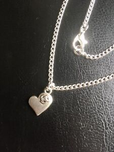 Large Plus Size Anklet 11 Inch Heart & Rose Charm Silver Plated Beach Holiday