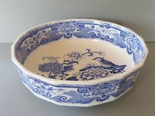 Antique Masons Blue & White Wash Bowl (or Serving Bowl) - Bird of Paradise - 11""