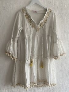 CREAM GOLD KAFTAN DRESS 14 SEQUIN BEADED TASSELS SUMMER CELEB PRETTY HOLIDAY FIT