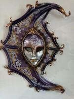 Luna - Maschera veneziana originale artigianale in ceramica e cuoio