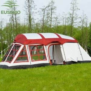 8-12Persons double layer outdoor family two bedrooms& one living room house tent