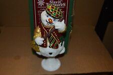 Slavic Treasures Glass Snowman Christmas Ornament White Whistler 6.75 inches