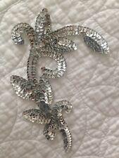 Silver Sequin Motif Embellishment. Leaves. 17.5cm Long. Bridal Dance Costume