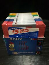 SONY 25 PACK VINTAGE ASSORTED COLORS DOUBLE SIDED MICRO FLOPPY DISK NEW