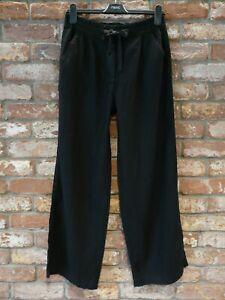 BNWT NEXT NEW Ladies BLACK wide leg linen blend trousers elasticated  waist P