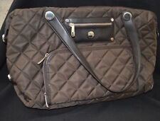 KNOMO LOLA BROWN QUILTED NYLON SHOPPER TOTE LAPTOP BAG