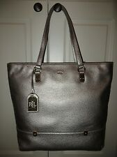 RALPH LAUREN MOONLIGHT PEWTER GOLD LEATHER MORRISON N/S SHOPPER TOTE PURSE NWT