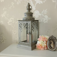 Grey Green Fretwork candle lantern shabby vintage chic wedding light home gift