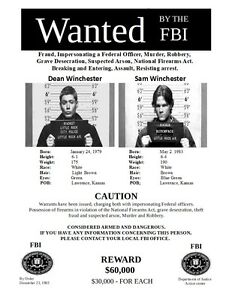 Sam & Dean Winchester FBI Most Wanted Posters, From Supernatural  The TV Show