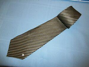 Classic Gianni Versace V2 Black & Brown Stripped Silk Tie