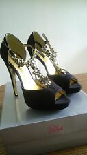 Black Suede Diamante Buckle Sandals Size 7