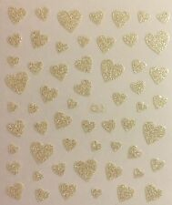 Nail Art 3D Decal Stickers Pearl White Glittery Hearts Valentine's Day