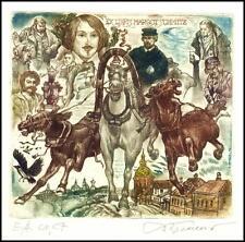 David Bekker 1998 Exlibris C4 Trojka Pferd Horse Folklore Bird Samovar 650