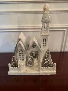 """Bethany Lowe Christmas Putz 11"""" Church House Silver White Deer AS IS"""