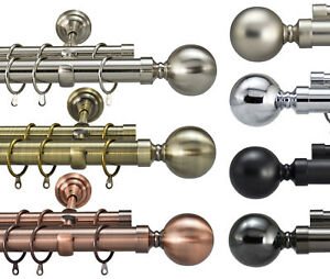 Designer Metal Double Extendable Curtain Pole Rail Rod 28/19mm Brass Chrome
