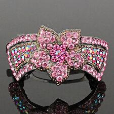 Flower Pink Austrian Rhinestone Hair Barrette Clip Ponytail Cuff Holder B100p