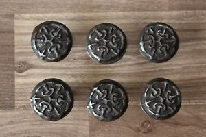 Vintage Old cast iron Floral cabinet drawer door knobs handles pull rustic 6 pcs